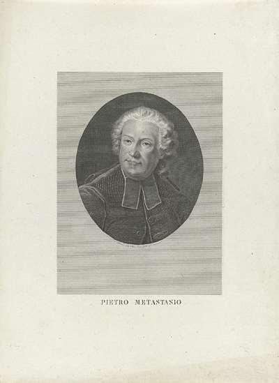 Portret van librettist Pietro Metastasio; Portretten van beroemde Italianen in ovalen