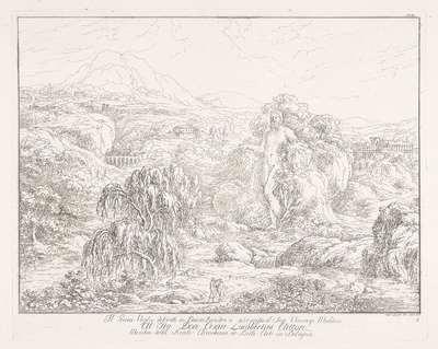 Landschap met standbeeld van de Grote Grijsaard; Il Gran Veglio descritto in Dante