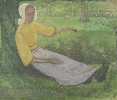 Woman of Huizen sitting under a Tree | Roland Holst, Richard
