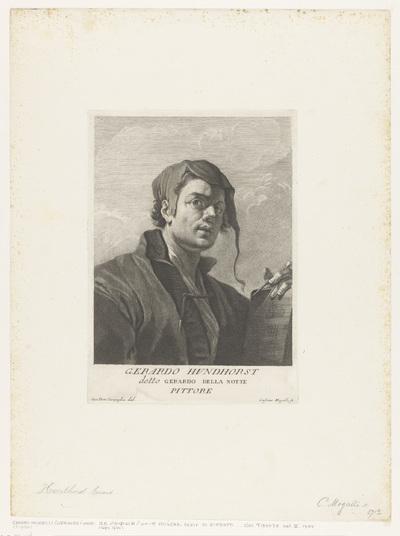 Portret van kunstenaar Gerard van Honthorst; Portretten van kunstenaars