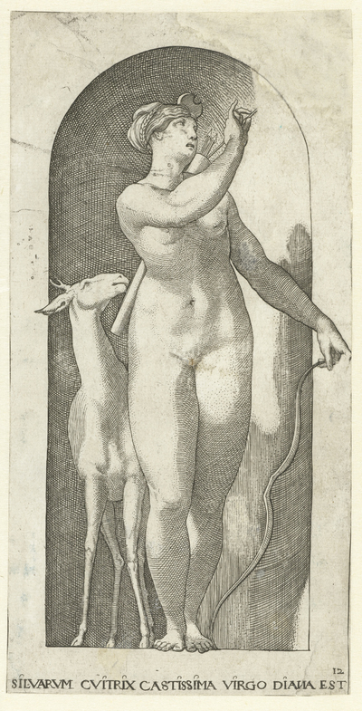 Diana met pijlenkoker, boog en hert; Goden en Godinnen, nr. 12 (20)