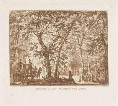 Koets en wandelaars in de Haarlemmerhout; Gezicht in het Haarlemmer Hout