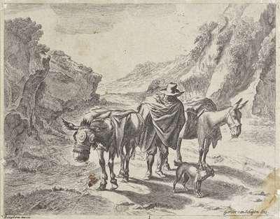 Herder met twee ezels en een hond