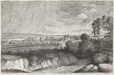 Landschap in een regenbui