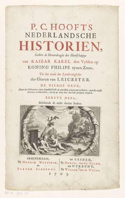 Putti en herder in landschap; Titelpagina voor: P.C. Hooft, Nederlandsche historien, 1703