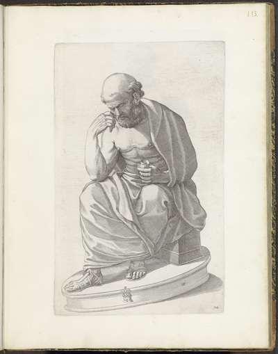 Standbeeld van een zittende man mogelijk Diogenes; Galleria Giustiniana del Marchese Vincenzo Giustiniani I