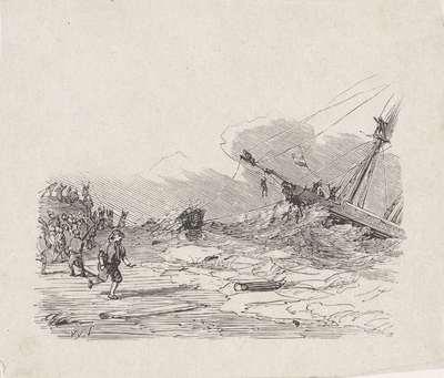 Schip in een storm met touwen vastgehouden door mannen op de kust; Afschaffing van sterke dranken in 1838