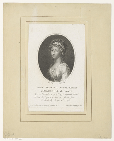 Portret van Marie Thérèse Charlotte van Frankrijk in ovaal; Marie Therese Charlotte de France (...)