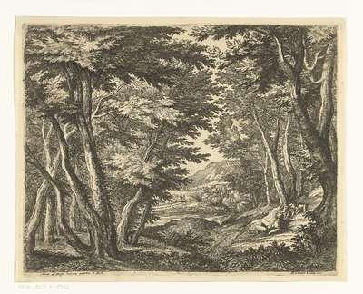 Landschap met drie mannen bij een open plek in het bos