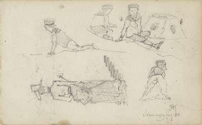 Studies van figuren op het strand van Scheveningen