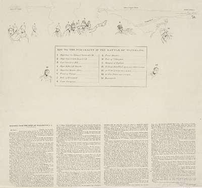 Sleutel bij de prent van de Slag bij Waterloo, 1815; Key to the portraits in the Battle of Waterloo