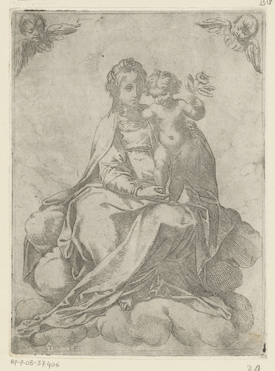 Maria met Kind en roos