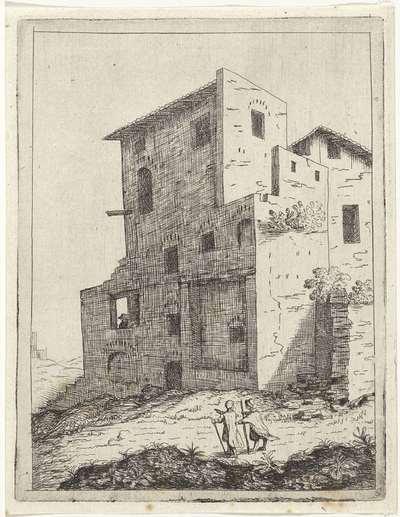 Twee voetgangers voor een huis; Landschappen met ruïnes; Diversa antiquitatis vestigi (...)