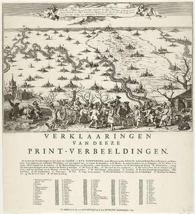 Derde plaat van de watersnood na dijkdoorbraken bij de grote rivieren, 1740-1741; Derde Plaat der overstroominge inhoudende het Ryk Nimweegen (...) met alle desselfs doorbraken in 't Jaar 1740 en 1741