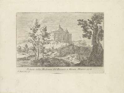 Image from object titled Landschap met de Chiesa della Madonna del Rosario op de Monte Mario; Veduta della Madonna del Rosario al Monte Mario; Varie Vedute