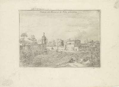 Landschap met de poort van de Villa Pinciana; Veduta del Portone di Villa Pinciana; Varie Vedute