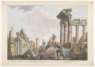 Gezicht op de ruïnes van de Piramide van Cestius, de Zuil van Constantijn en andere monumenten te Rome; Romeinse oudheid