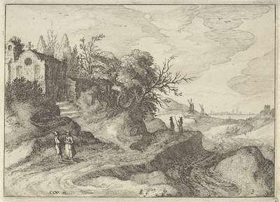 Kapel aan een slingerende landweg; Hollandse landschappen; Amaeniores Aliquot Regiunculae