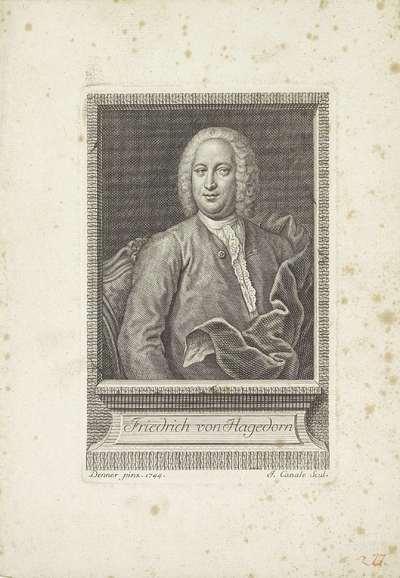 Portret van de dichter Friedrich von Hagedorn