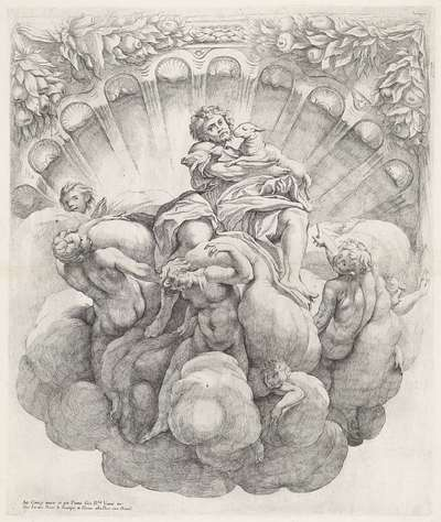 Johannes de Doper omgeven door zeven engelen; Koepeldecoraties door Correggio in de S. Giovanni Evangelista in Parma