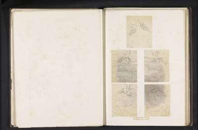 Vijf fotoreproducties van een publicatie door de Arundel Society met tekeningen van de heilige Sebastiaan naar Perugino