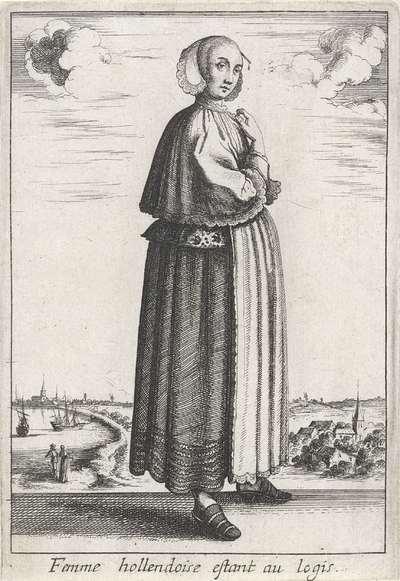 Femme hollendoise estant au logis; Hollandse vrouw in huisdracht; Livre Curieux; Vrouwen in klederdracht