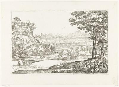 Landschap met een rivier waarover een brug met drie bogen; Cabinet du Roy
