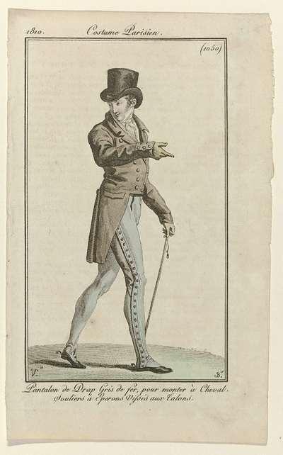Journal des Dames et des Modes, Costume Parisien, 5 avril 1810, (1050): Pantalon de drap (...)