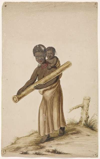 Afrikaanse vrouw met kind en boomstam