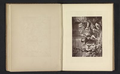 Fotoreproductie van een prent naar een schilderij met een blinde doedelzakspeler en dansende kinderen door John Frederick Tayler