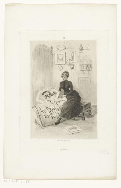 Vrouw haalt een prent uit een portfolio; Titelpagina voor: Henri Béraldi, Les graveurs du XIXe siècle, 1885