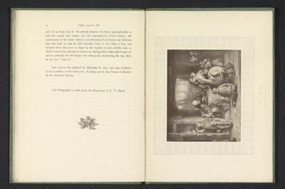 Fotoreproductie van een prent naar een schilderij van een jongen die een klaslokaal binnenkomt door William Mulready; The last in