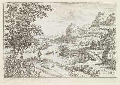 Stenen brug bij een riviersplitsing; Vier rivierlandschappen; Spiegel der natuur en school der teekenkunde (...)