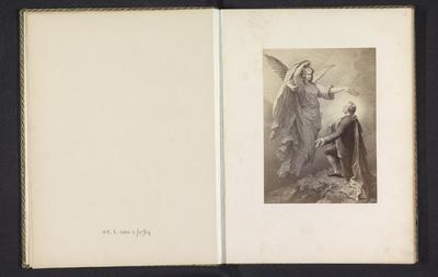 Fotoreproductie van een prent, voorstellende Johann Wolfgang von Goethe die wordt gelauwerd door zijn muze