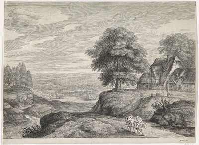 Landschap met boerenkar bij boerderij; Landschappen