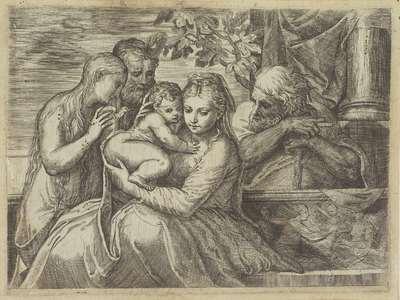 Heilige Familie met heiligen
