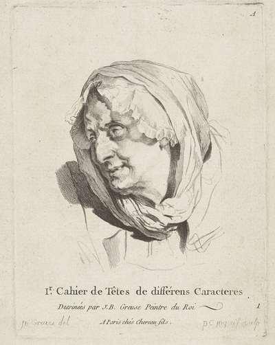 Studieblad: gezicht van een oudere vrouw; 1r Cahier de Têtes de différens Caracteres
