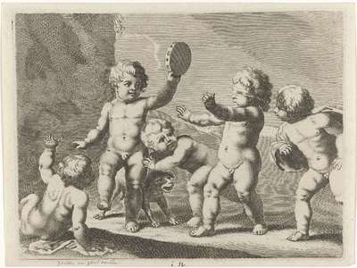 Kinderen spelen blindemannetje; Spelende kinderen (serie B)
