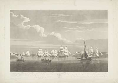 Vertrek van twaalf Nederlandse koopvaardijschepen uit de haven van Portsmouth, 1833 (plaat 1); Dit stel van drie platen voorstellende het vetrek uit de Haven van Portsmouth op den 2.d Juny 1833 van 12 Nederlandsche...