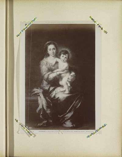 Fotoreproductie van een schilderij door Bartolomé Esteban Murillo, voorstellend Maria met Kind; Firenze - Galleria Pitti La Madonna col Bambino Gesú (Murillo)