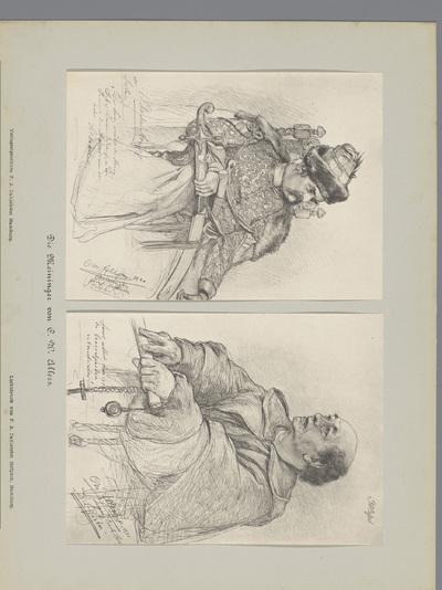 Twee fotoreproducties van tekeningen, voorstellende een portret van een acteur in Slavisch kostuum en een portret van een acteur in monnikskostuum; Die Meininger von C. W. Allers