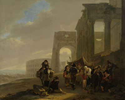 Image from object titled Street Scene Placed among Roman Ruins