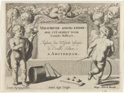 Kind met een bal en een kind met een hoepel; Spelende kinderen (serie B); Verscheyde aerdig kinderspel uyt gebeelt door Cornelis Holsteyn