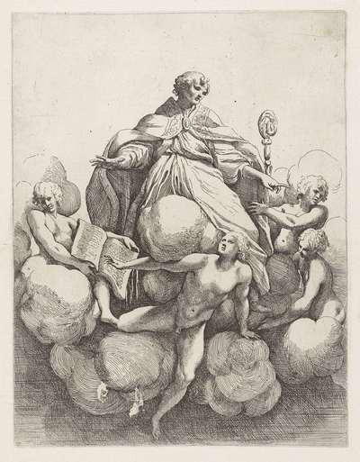 Bisschop ten hemel stijgend en omringd door vier engelen; Koepeldecoraties door Correggio in de S. Giovanni Evangelista in Parma
