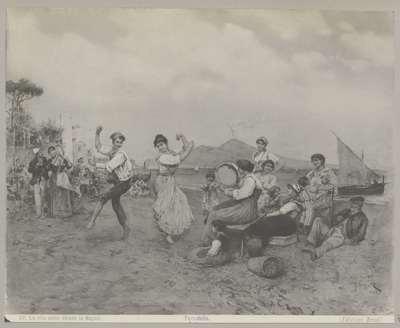 Fotoreproductie van (mogelijk) een schilderij, voorstellend een de tarantella dansende groep mannen en vrouwen; La vita nelle strade in Napoli. Tarantella
