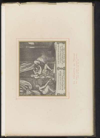Fotoreproductie van een gravure, voorstellende het toilet van Psyche; La toilette de Psyché fac-simile d'une estampe gravée par le Maitre au Dé; Musée National du Louvre Galerie d'Apollon
