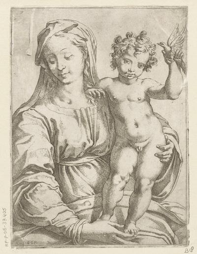 Maria met Kind en een vogel