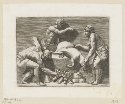 Drie mannen offeren een varken