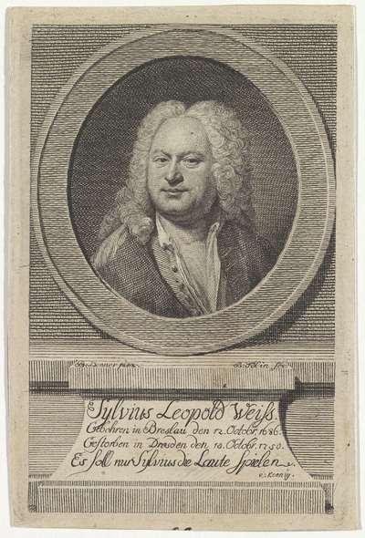 Portret van componist en luitspeler Sylvius Leopold Weiss