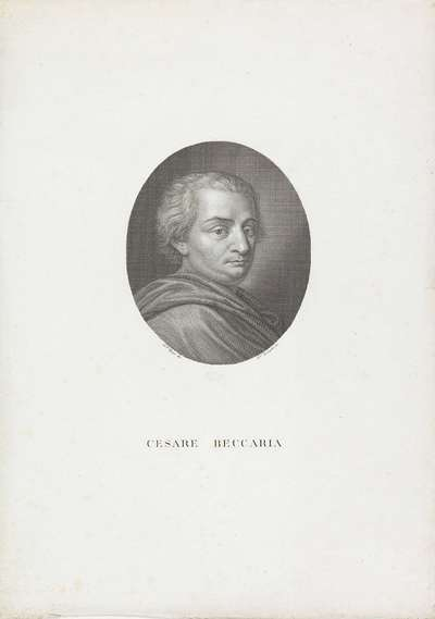 Portret van filosoof en politicus Cesare Beccaria; Portretten van beroemde Italianen in ovalen